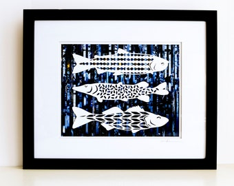 Nautical Fish Wall Art - An Original Fish Collection Collage