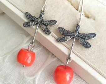 Dragonfly earrings. Sterling silver dragonfly earrings. Coral dragonfly earrings. Woodland earrings.  Art nouveau earrings