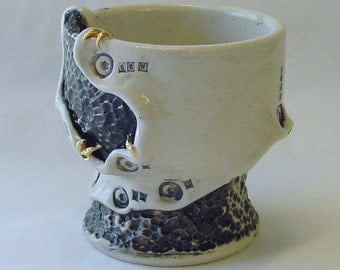 Industrial Cocoon Wine Cup with 22k Gold Spikes