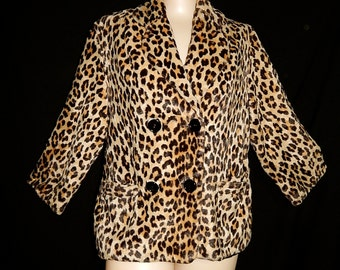 MEOW - vintage 50s 60s faux fur velvet leopard jacket coat cheetah print bombshell rockabilly swing pin up double breasted black - L / XL