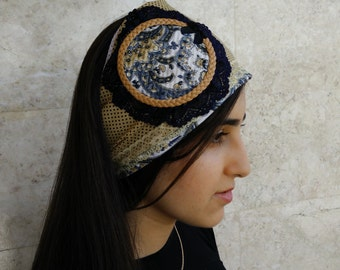 Retro Floral Headband , Vintage Inspired, Jewish Head Cover ,Headband,tichel,Hair Accessories,Haarband cotton, just tie in the back