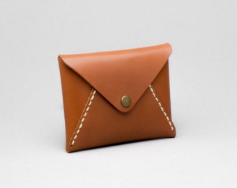 Personalized Leather Envelope Card Holder / Wallet, Rust brown color, Hand Stitched by Harlex