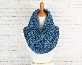 Infinity Scarf Cowl Knit Circle Scarf Warmer Wrap Snood Chunky Knitted // The Aroostook