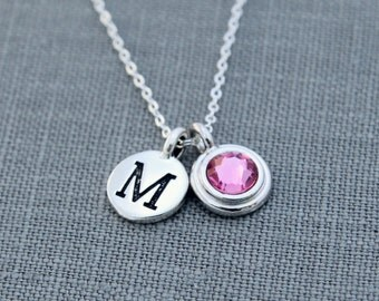 Mothers Initial Necklace Silver, New Mom Jewelry, Pink Tourmaline October Birthstone Necklace, Personalized Grandma Necklace