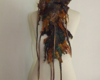 Felted Scarf, Nuno felt Scarf, Neck piece, Collar Warmer fall, autumn, winter, OOAK, Art to wear Hand Made, wool scarf, scarfette.