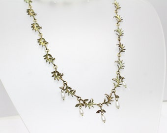 Bronze Leaves with Freshwater Pearl Necklace