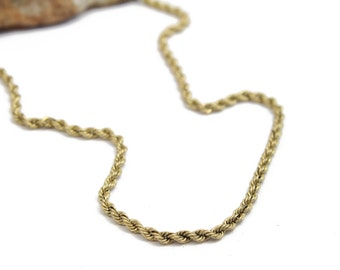 """Vintage 14k Yellow Gold Rope Chain 18"""" 2.5mm Thick"""