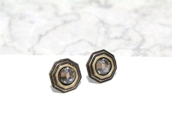 Small Stud Earrings with Antique Gold and Black Diamond Swarovski Crystals Octagon Shaped