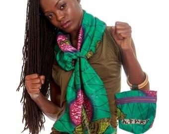 MINT loop scarf / AMHARIC DREAMS bangle clutch