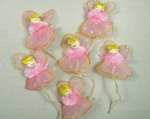Vintage Pink Angel Spun Cotton Christmas for Corsages Retro Crafts Decorations Lot of 6 Tulle Netting Wings