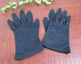 Vintage Black Nylon Misses Gloves Womens Childrens Gloves Costume Gloves Halloween Gloves Size 6