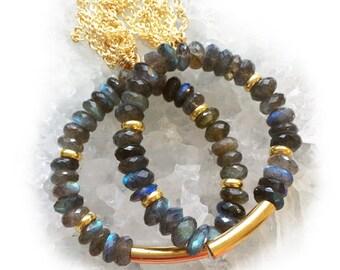 Labradorite Tassel Bracelet-beaded bracelet, tassel bracelet, boho, gold tassel, labradorite, stretch bracelet