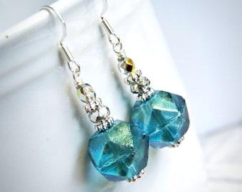 blue rock candy drop earrings, dangle, silver french hook czech glass earrings, aqua, sparkle