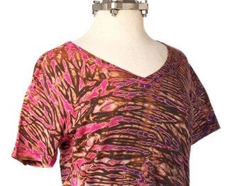L Boho T Shirt Women's V-Neck Hand Dyed Boho Dyed Purple Tie Dye