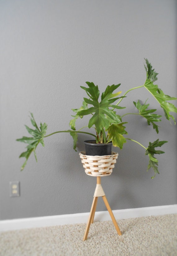 mid century modern wooden basket tripod plant stand white. Black Bedroom Furniture Sets. Home Design Ideas