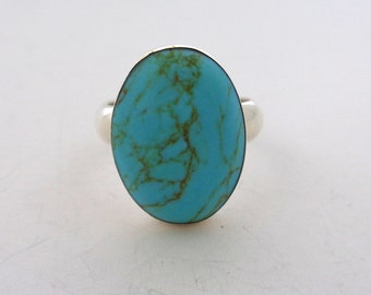 Sterling Turquoise Ring 925 ATI Size 8