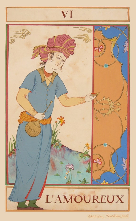Persian Painting Tarot Card /The Lovers/Marseille Tarot