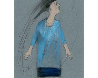 art original illustration girl bird drawing figurative people small