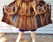cognac brown mink fur coat with soft leather inserts belted petite fit retro groovy bohemian hippie classic cozy mink fur coat 1960s