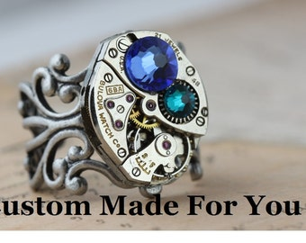 Silver Unique Ring Personalized Gift Statement Ring Mom Jewelry Steampunk Ring Watch Ring CUSTOM Made Jewelry Birthstone Ring Mothers Ring