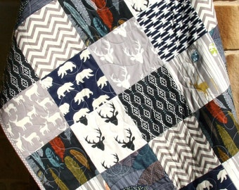 Baby Quilt, Boy, Navy Blue Grey Gray, Elk Deer, Woodlands , Birch Forest, Modern Blanket, Chevron Bear Aztec, Crib Bedding, Children Baby