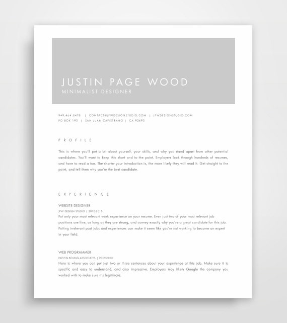 Resume Design, CV Template, Minimalist Resume, Modern Resumes, Grey Resume,  Professional Template, Resume Template, CV, Modern Resumes
