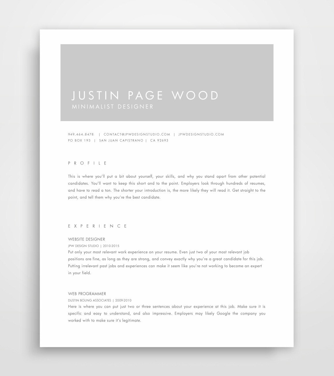 resume design cv template minimalist resume modern resumes grey resume professional - Template Of A Resume