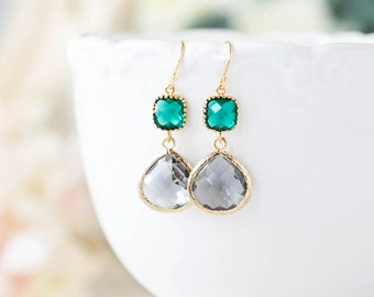 Emerald Green Gray Earrings Gold Charcoal Grey Dark Green Dangle Earrings Emerald Wedding Earrings Bridesmaid Earrings Gift for Mom Wife