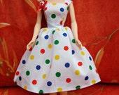 "Handmade 11.5"" Fashion Doll Clothes. Gathered skirt fabric strap dress."