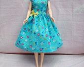 "Handmade 11.5"" Fashion Doll Clothes. Gathered skirt blue floral print dress."