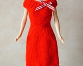 """Handmade 11.5"""" Fashion Doll Clothes. Red knitted dress with bow trim."""