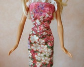 "Handmade 11.5"" Fashion Doll Clothes. Floral print dress."