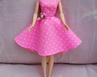 "Handmade 11.5"" Fashion Doll Clothes. Full circle skirt pink dress."