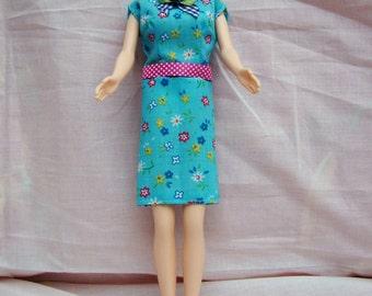 "Handmade 11.5"" Fashion Doll Clothes. Small floral print straight skirt dress."