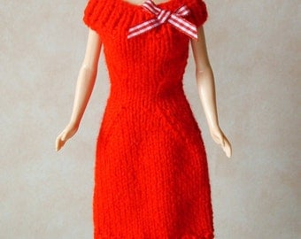 "Handmade 11.5"" Fashion Doll Clothes. Red knitted dress with bow trim."