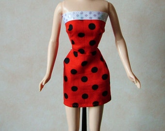 "Handmade 11.5"" Fashion Doll Clothes. Ladybird print mini dress."