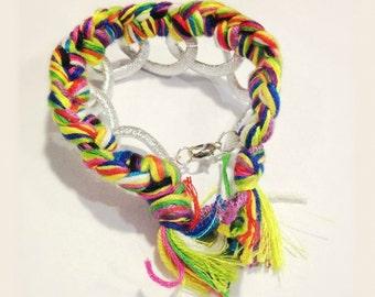The Ellie Tassel Bracelet   Neon Braided Chain Bracelet   Colorful Tassel Bracelet   Silver Chain Bracelet   Rainbow Tassel Bracelet