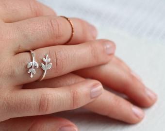 Leaf Twig Ring ... Silver Vintage Midi Adjustable Flower Ring