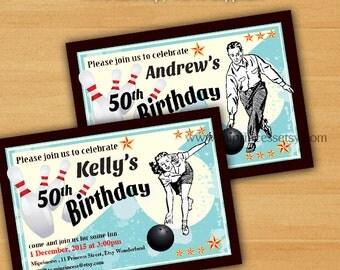 Bowling Birthday Invitations,adult bowling, any age for vintage theme retro bowling fun party 10th 30th 30th 50th 60th 70th 80th  - card 235