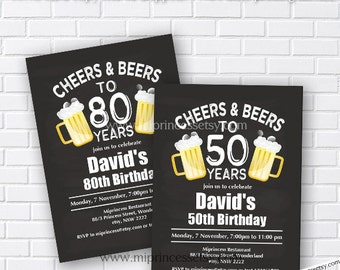 Cheers & Beers Birthday Invitation Beer birthday chalkboard design  man any age Beers 30th 40th 50th 60th 70th 80th 90th birthday - card 250