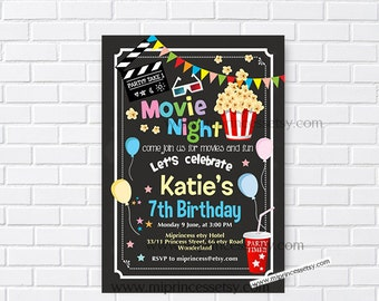 Movie Party Invitation, Movie Night Birthday Invitation, chalkboard Movie party invitation any age 4th 5th 6th 7th 8th 9th 10th - card 950