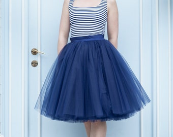 Tulle skirt, navy blue tulle skirt, bridesmaid skirt