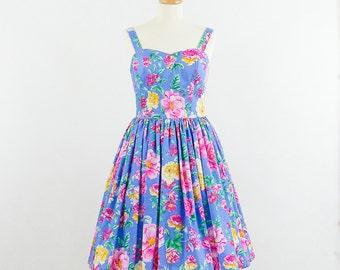 Floral bridesmaid dress, blue bridesmaid dress, vintage inspired dress, sleeveless dress with sweetheart neckline.