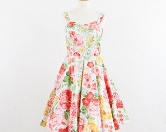 Vintage inspired bridesmaid dress Fields of Flowers Dress- Strapless dress with sweetheart neckline.