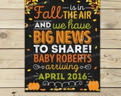 Fall Pregnancy Announcement Sign Printable - Fall Baby Announcement Chalkboard Sign - Pregnancy Reveal to Grandparents - Were Expecting