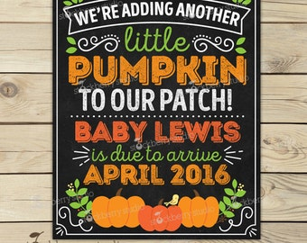 Pregnancy Announcement Chalkboard Printable - Fall Pumpkin Pregnancy Announcement Sign - Pregnancy Reveal - We're Expecting - Photo Props