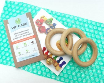 Wooden Teething Rings, Unfinished ORGANIC Wood Teethers for Baby (lot of 3)