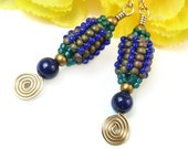 Tribal African Bead Dangle Earrings, Lapis Lazuli, Spirals, Blue Green Gold Tone, Handmade Beaded Jewelry