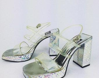 90's Clear Stap Hologram Heels Platform Chunky Clueless Kawaii Sandals, 9&co  // 10