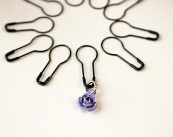 20 Pear Shaped Removable Knitting and Crochet Stitch Markers with Optional Tin, Coiless Bulb Shaped Safety Pin Removable Stitch Markers